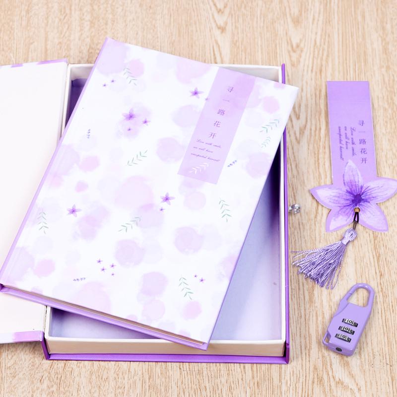 笔记本盒装大学生生日礼物少女精装带锁的密码手账本可爱韩国日记