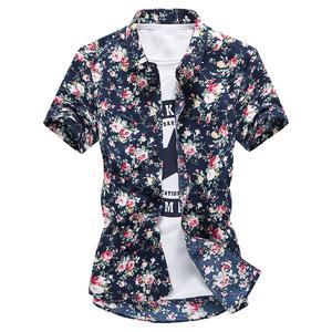 短袖衬衫男士2020春夏韩版时尚印花修身休闲发型师碎花半袖衬衣潮