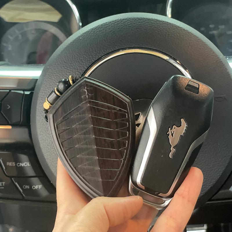 福特野马车钥匙壳改装定制紫檀实木头钥匙壳盾牌菱形匙外壳替换包