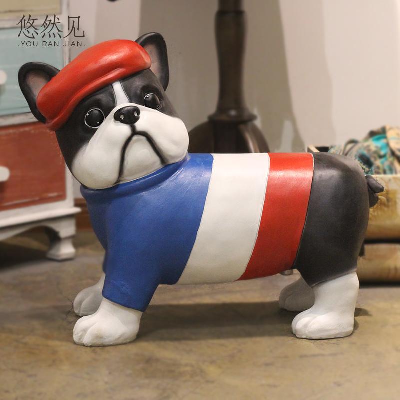 狗狗换鞋凳儿童房装饰创意客厅玄关家居可爱卡通小动物饰品小摆件