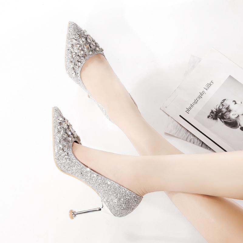 酒吧领舞法式少女高跟鞋模特训练专用李溪芮同款晚礼服亮片新娘鞋