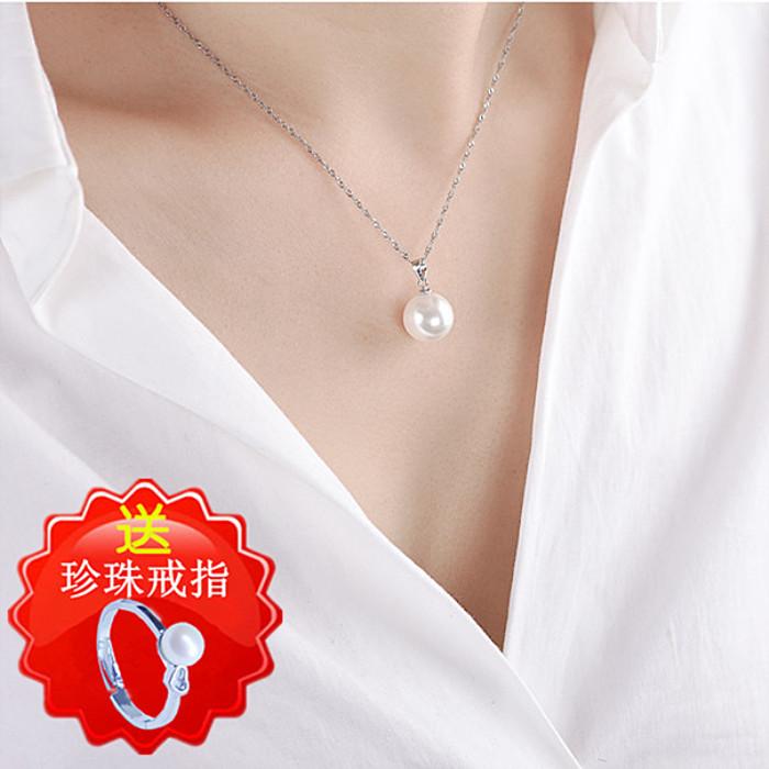 天然珍珠吊坠单颗纯银项链锁骨链女短款配饰品百搭七夕礼物毛衣链