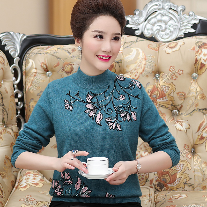 2021 new mother autumn long sleeve top middle-aged and elderly clothes womens autumn and winter knitted foreign style bottomed sweater