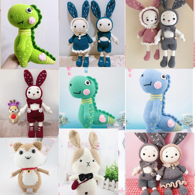 毛線手工編織鉤針玩偶diy網紅情侶兔恐龍娃娃5股牛奶棉寶寶材料包