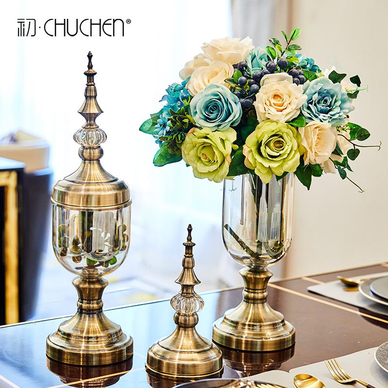 创意欧式花瓶摆件玻璃透明美式餐桌轻奢软装饰品家居客厅仿真插花