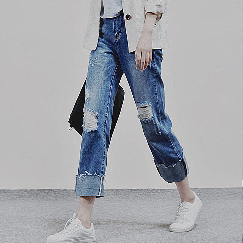 2017新款韩版宽松显瘦高腰直筒翻边破洞休闲九分牛仔裤子女bf风潮