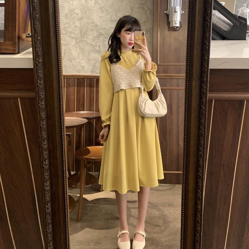 2020新款法式小众裙子收腰显瘦长袖连衣裙女装秋季两件套气质套装