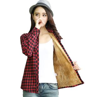純棉加絨加厚格子襯衫女長袖保暖秋冬款韓版大碼女裝寬鬆學生外套