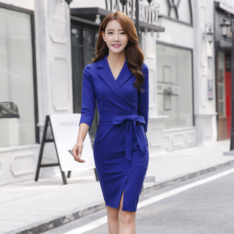 Spring and summer fashion ol dress slim professional mid skirt split suit collar solid color buttock bottom wrap skirt