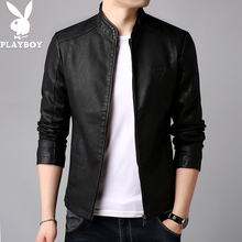 Playboy men's leather 2018 new Slim Korean spring and autumn handsome leather jacket autumn and winter models plus velvet jacket