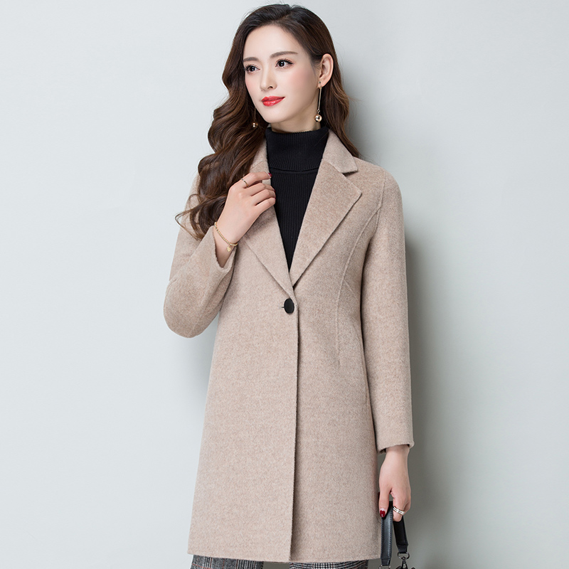New slim wool thick coat in autumn and winter 2019 Korean medium long hand sewn double faced nylon wool coat for women