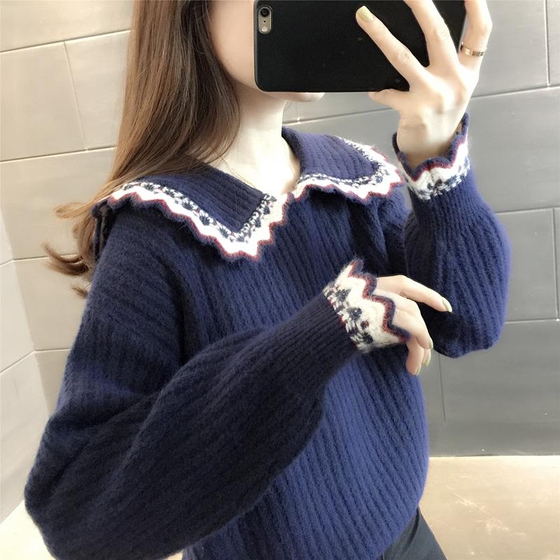 学院风娃娃领冬季2020年新款毛衣