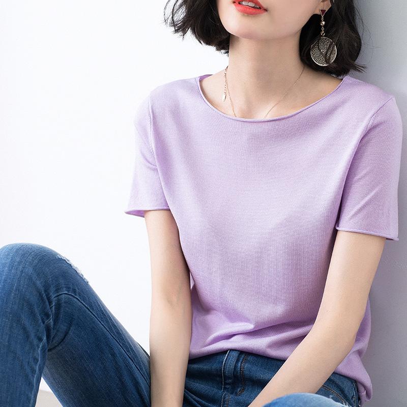 香芋紫色t恤女装夏季短袖2018新款ins小心机纯色品质薄款针织上衣