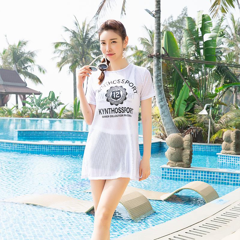 运动泳衣三件套女保守学生遮肚显瘦韩国游泳小香风分体罩衫游泳衣热销0件包邮