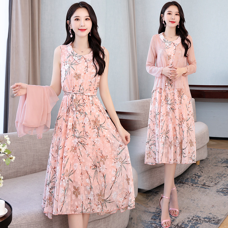 Huagediqing 2021 new summer printed silk elegant middle aged sweet lady two piece sleeveless dress fashion
