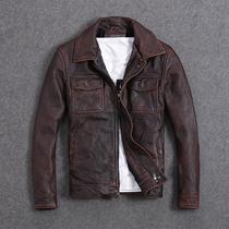 阿美咔叽 头层牛皮 复古石磨做旧真皮皮衣男士短款修身夹克红棕色