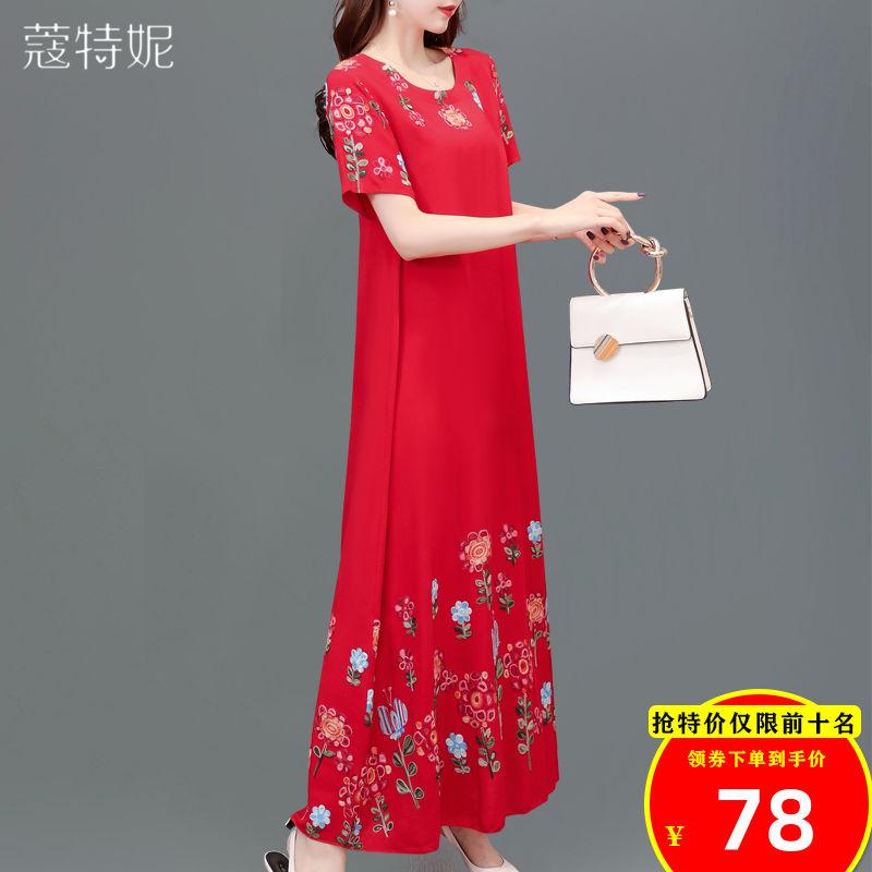 棉绸连衣裙妈妈夏装短袖裙子中年女装阔太太过膝重工刺绣绵绸长裙