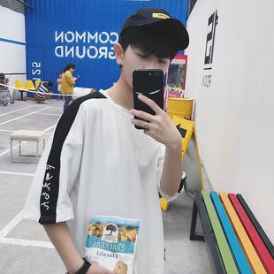 夏季港風寬松5五分短袖男士七t恤