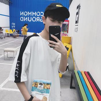 夏季港风宽松5五分短袖t恤男士韩版七7分袖学院学生夏天短袖衣服T
