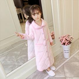 儿童浴袍珊瑚绒女童睡袍法兰绒秋冬季加厚款小孩宝宝三层夹棉睡衣图片