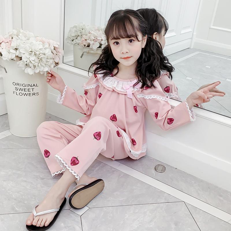 儿童睡衣女童春秋季纯棉花边薄款宝宝中大童小女孩家居服秋冬套装