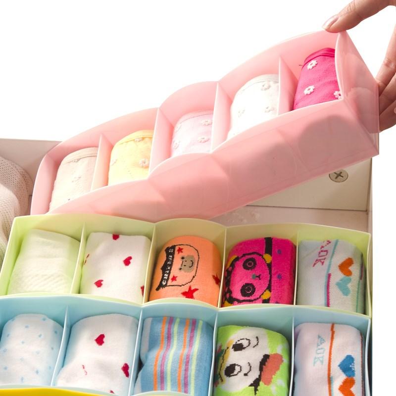 艾仕可 内衣袜子内裤塑料收纳盒 整理盒 抽屉储物盒 2个装
