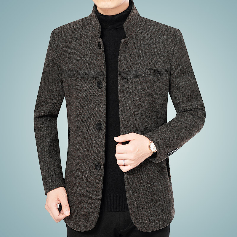 Mens casual woolen jacket middle aged Korean jacket autumn winter business casual Plush thickened top Dad