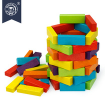 Wooden multi-Le wood color stacked high childrens toys pumping music wood blocks puzzle Layer Desktop game