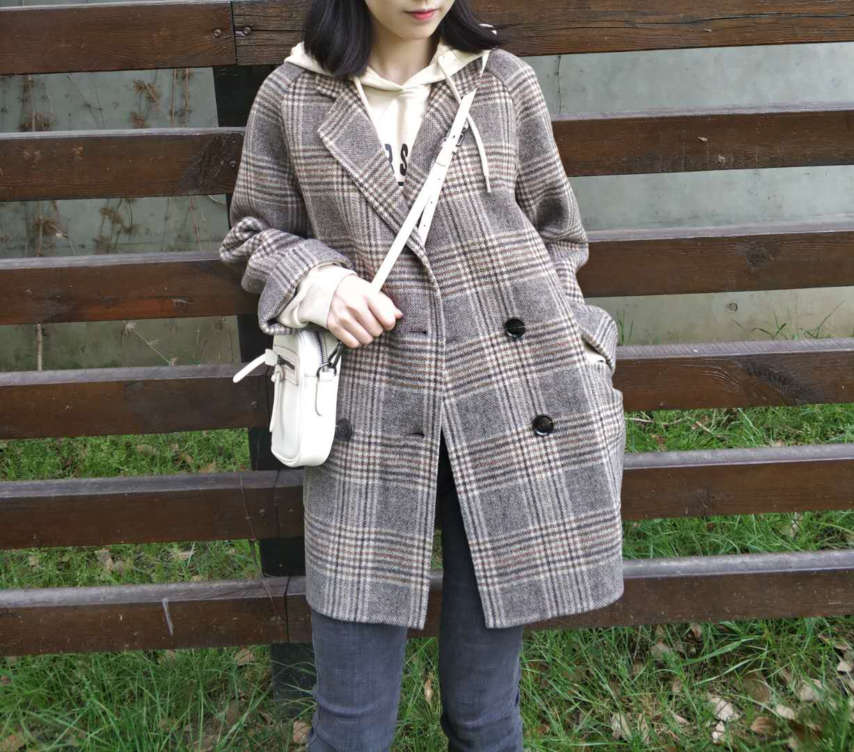 Meidai Plaid double-sided cashmere coat womens short high-end off season loose small wool suit coat