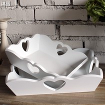 Ki Garden Korean white two-piece set fruit snack fruit candy tray tray love handmade wooden fruit basket