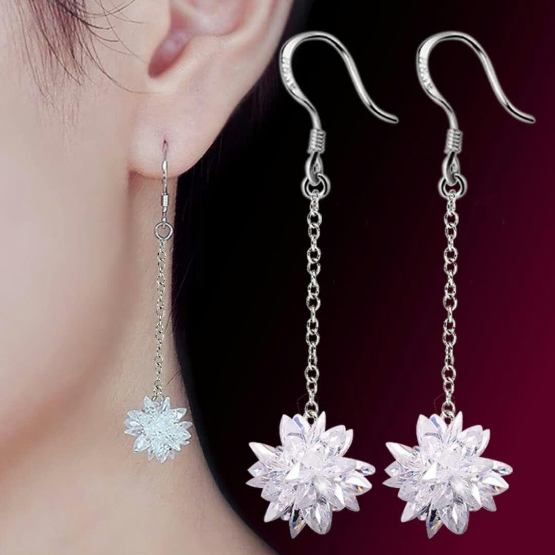 925 Sterling Silver Earrings female temperament Korean personality versatile long pendant ice crystal earrings super fairy Earrings