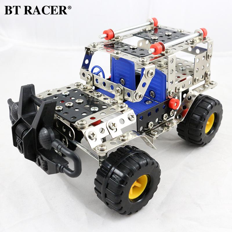 益智金屬拚裝模型玩具diy 工程汽車飛機螺母拆裝積木 男孩10歲