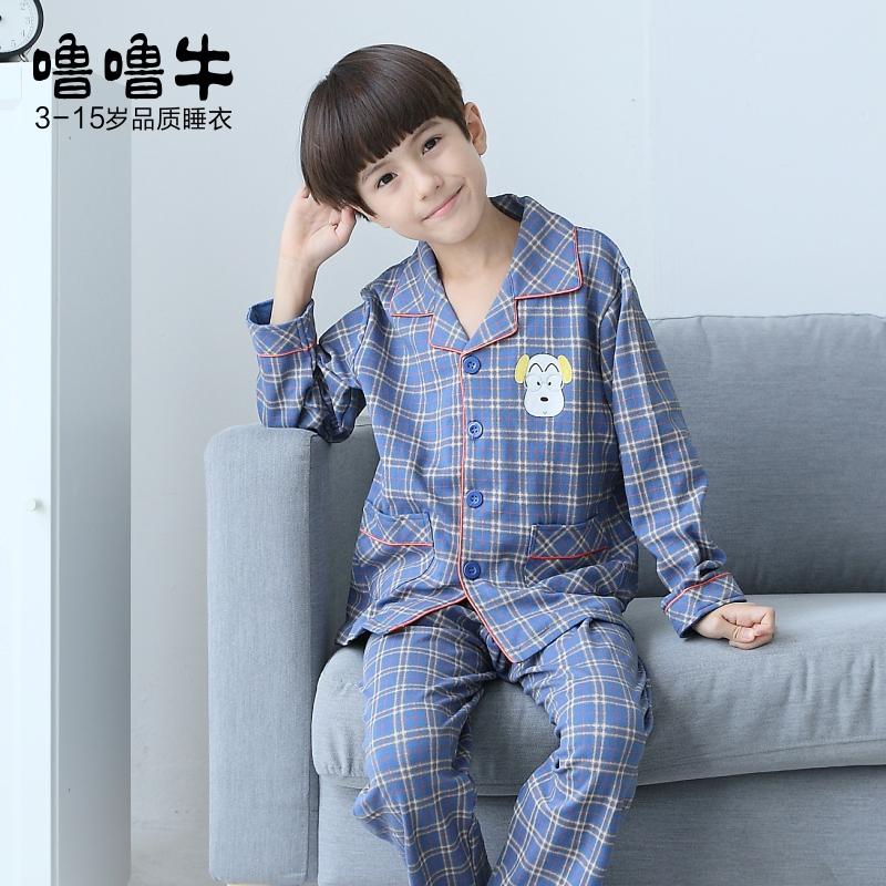 儿童睡衣男童春秋季纯棉长袖长裤小男孩秋季中大童全棉质薄款套装