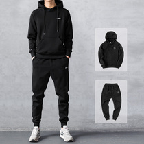 Clothing set mens autumn and winter hooded sports leisure couple winter plus velvet thickened two sets of trendy jacket