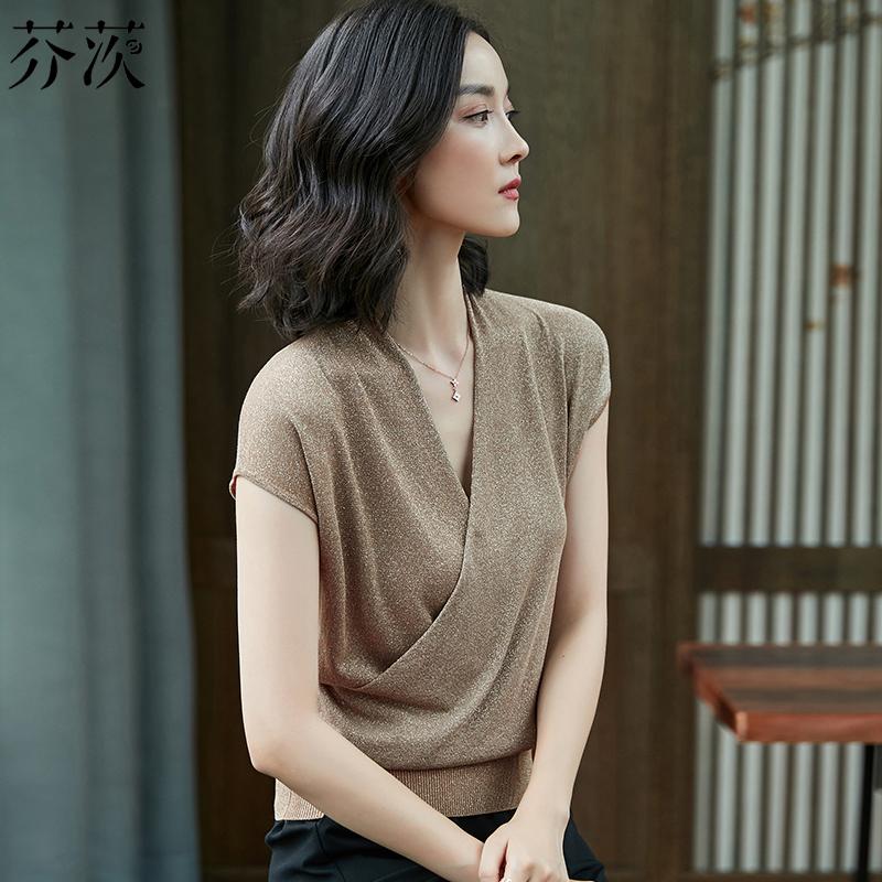 夏装亮丝短袖T恤女港味修身交叉V领冰丝针织衫女闪闪亮丝成熟上衣