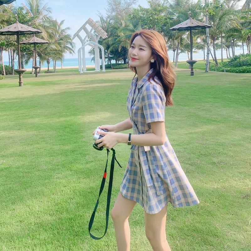 格子西装连衣裙女夏季2020新款小个子女神范收腰显瘦气质仙女裙子