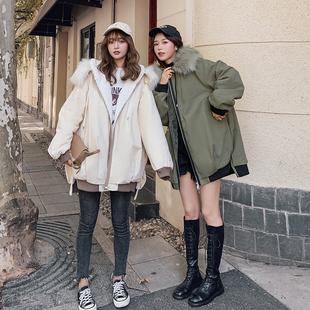 棉服女韩版宽松2019新款冬季外套加绒加厚工装面包棉袄中长款棉衣