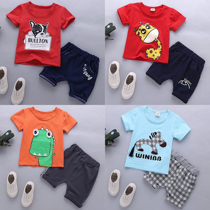 童�b夏�b男童2018新款女������和�衣服短袖套�b0-1-2-3-4-5�q