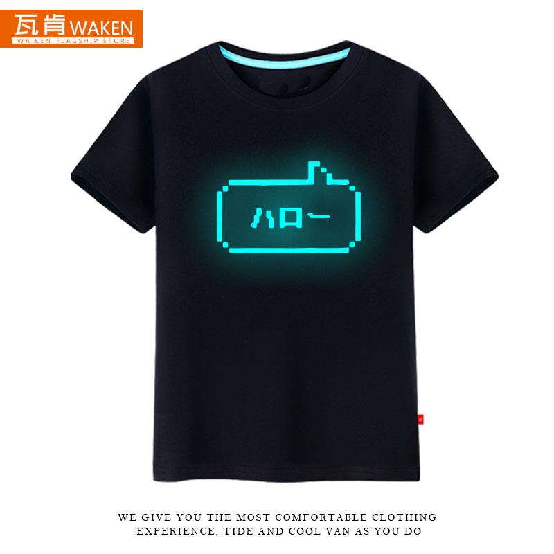 动漫简约印花短袖夏季 HELLO 二次元像素风日文原创T恤男