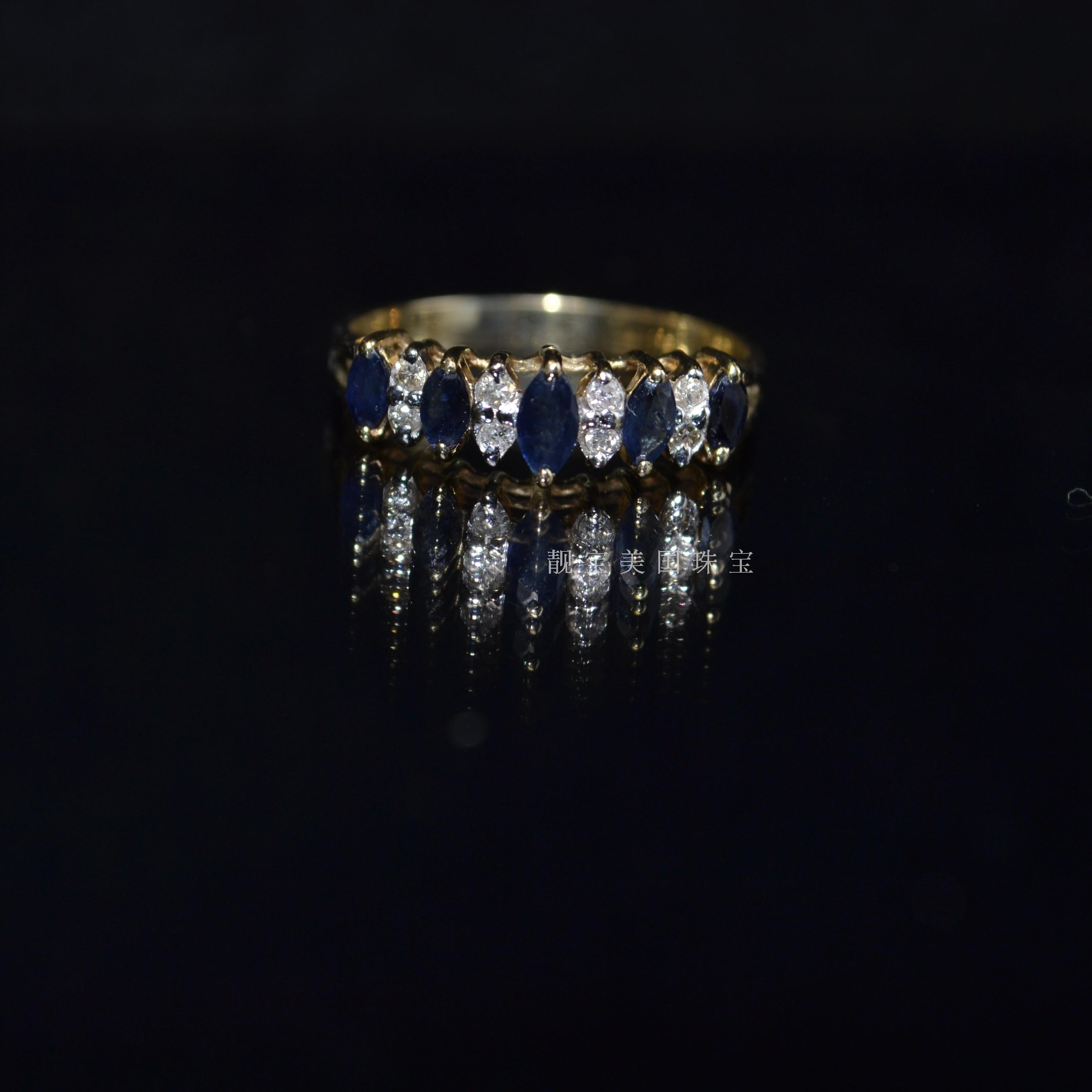 14k Gold 1 carat olive Sri Lanka natural diamond sapphire ring ring ring ring without flaw