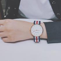 韩版潮流简约休闲大气潮男女学院风石英情侣手表初中高中学生薄款