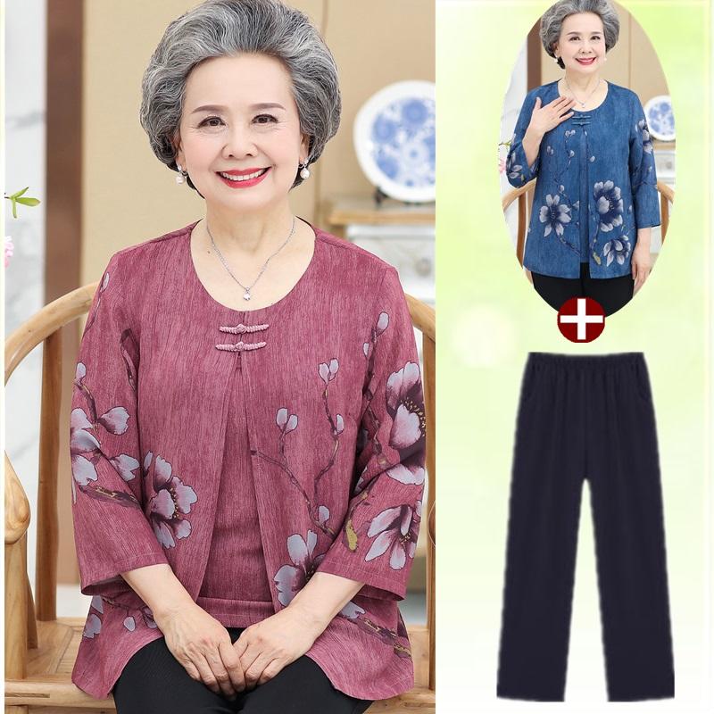 中老年女夏裝媽媽裝假兩件T恤60-70-80歲奶奶裝七分袖短袖兩件套