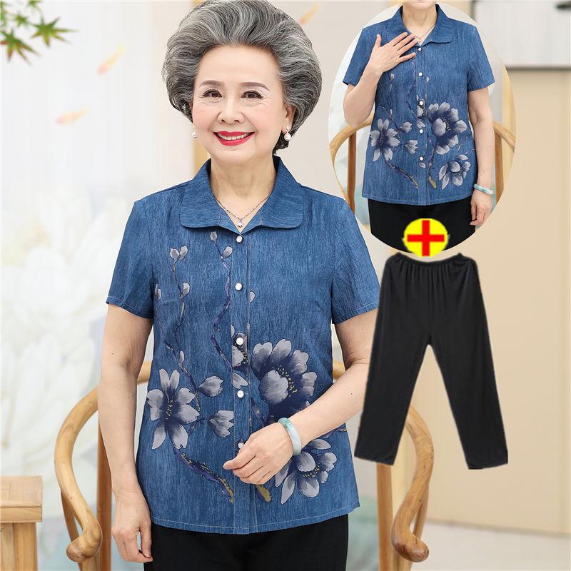 中老年女夏装妈妈装短袖套装岁衬衫(非品牌)
