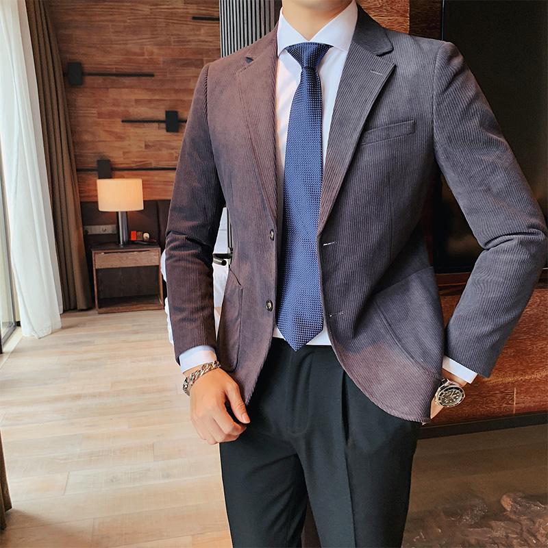 Suit mens suit autumn winter Korean slim fit suit vertical corduroy solid color leisure single west England fashion brand