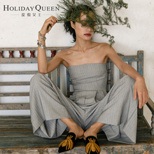 Holiday Queen's Beach Trousers, Breast-wiping Pants, Slim Pants, Slim Pants, Slim Pants, Slim Pants, Gray Broad-legged Pants