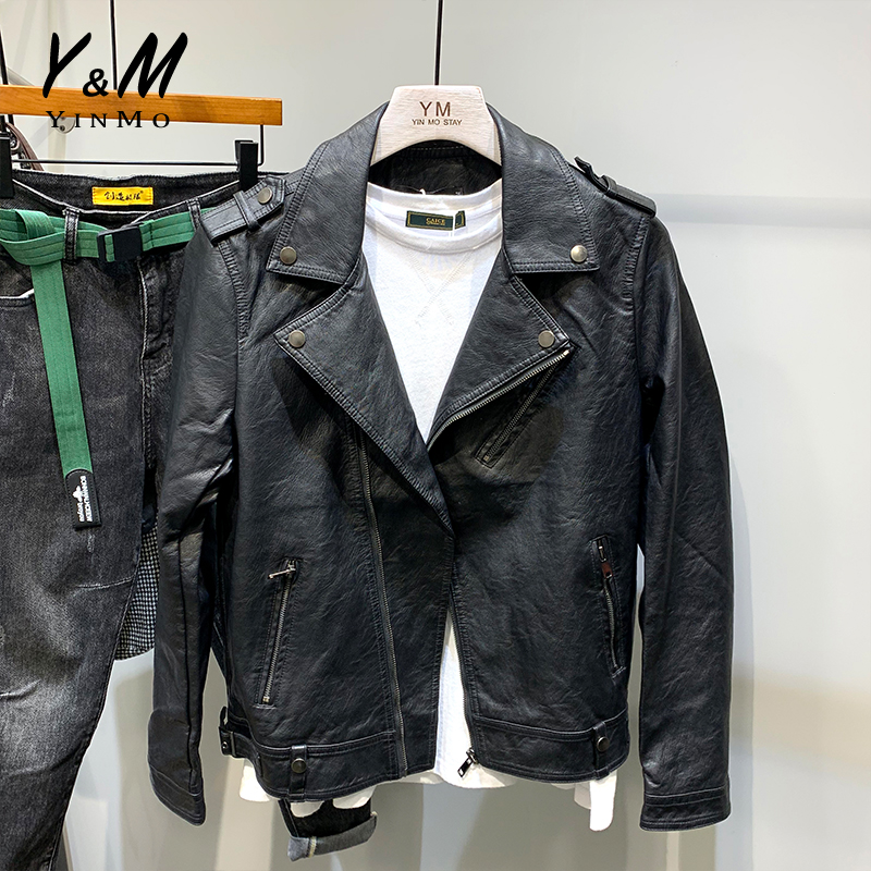Leather Men's fashion spring new Korean slim and handsome trend men's locomotive inclined zipper leather jacket lapel