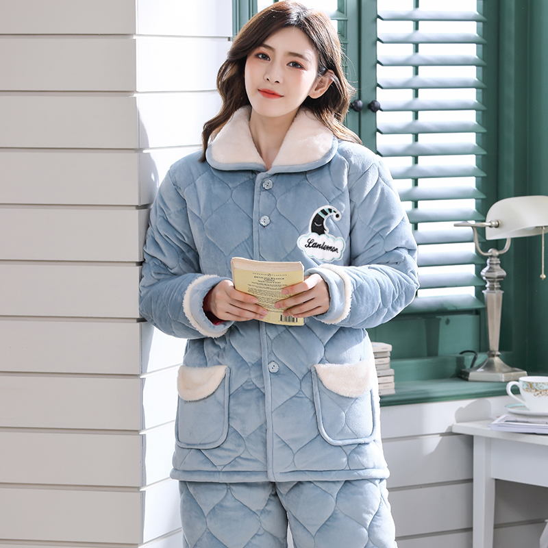 睡衣女冬季三层加厚法兰绒睡衣套装秋冬天保暖珊瑚绒夹棉袄家居服
