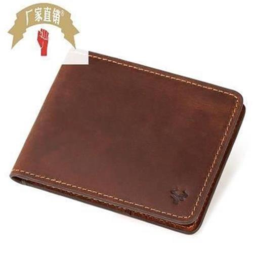 High grade leather new ultra thin RFID mens wallet g double fold short u card mens small luxury