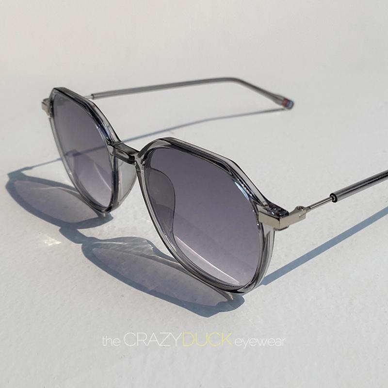 高档墨多镜边形透明太阳眼镜片渐变色渐进镜女超轻圆X脸素颜韩奢