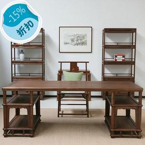 新中式全实木书桌简约现代住宅书房成套家具书桌椅书柜组合大甩卖